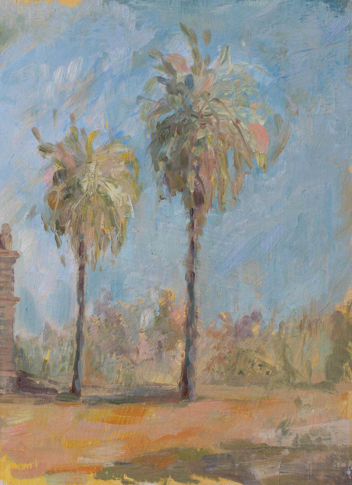 Palms at Martindale Hall Adelaide oil on board