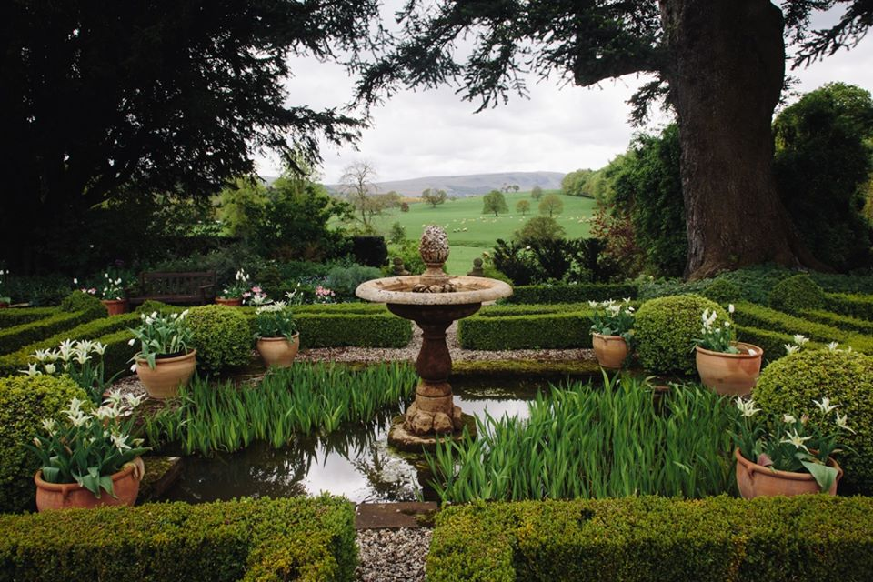 Looking across the Tudor Knot Garden towards the Lake District fells
